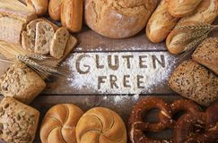 Gluten free breads on wood background stock photography