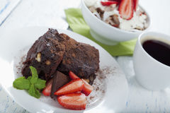 Gluten free brownie and breakfast muesli Royalty Free Stock Photo