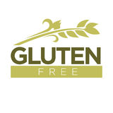 Gluten free in cereal grains logo. Dough without harmful substances Stock Photo