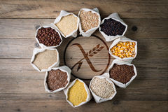 Gluten free cereals and seeds with logo Stock Image