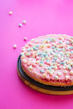 Gluten-free Cheesecake with Marshmallows for Party on Pink Background Royalty Free Stock Photos