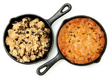 Gluten Free Chocolate Chip Skillet Cookie Before and After. Cooked Isolated Stock Photos