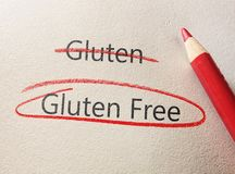 Gluten free circle. Gluten Free text circled in red pencil Stock Photo