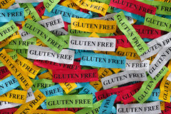 Gluten Free. Concept. Colorful pieces of paper with words royalty free stock photos
