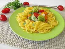 Gluten free corn pasta with vegetables stock photo