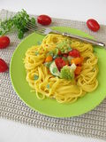 Gluten free corn pasta with vegetables Royalty Free Stock Image