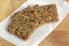 Gluten free cranberry almond crackers. Gluten free, grain free cranberry, almond, rosemary and sunflower seed crackers Royalty Free Stock Photo