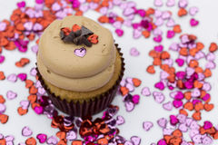 Gluten Free Cupcake with Hearts  Stock Image