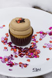 Gluten Free Cupcake with Hearts Stock Images