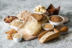 Gluten free diet concept - selection of grains and carbohydrates for people with gluten intolerance. Copy space stock images