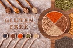 Gluten free diet options - various grains and seeds royalty free stock photos