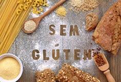 Gluten free flour and cereals millet, quinoa, corn flour polenta, brown buckwheat, basmati rice and pasta with text gluten free in. Gluten free flour and cereals Stock Photos