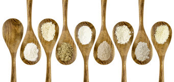 Gluten free flour spoon collection Royalty Free Stock Photo