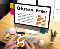 Gluten Free food  Celiac Disease Nutrition , Healthy lifestyle c. Oncept with diet and fitness , Nutrition facts Royalty Free Stock Photos