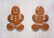 Gluten free gingerbread boy and girl Royalty Free Stock Photography