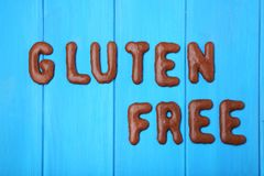 Gluten Free. Written by chocolate cookies alphabet Stock Photography