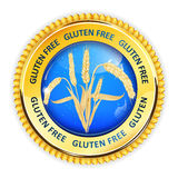 Gluten Free golden blue button, Royalty Free Stock Photos