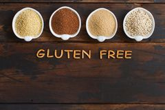 Gluten free grains. Amaranth,  sorghum grain, teff and millet Stock Photo