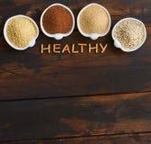 Gluten free grains. Amaranth,  sorghum grain, teff and millet Royalty Free Stock Photos