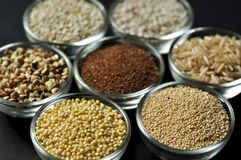 Gluten-free grains on black background. Top view, close-up Stock Photo