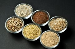 Gluten-free grains on black background. Top view, close-up Royalty Free Stock Image