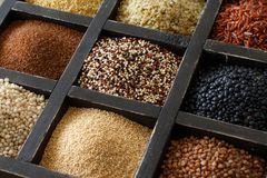 Gluten free grains in a box. Gluten free grains - buckwheat, black lentils, amaranth, quinoa, hemp seeds, sorghum grain, teff and millet Stock Photography