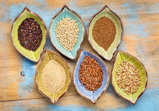 Gluten free grains collection. A set of six gluten free grains (black quinoa, sorghum, teff, amaranth,brown rice and buckwheat) - top view of leaf shape bowl Stock Images
