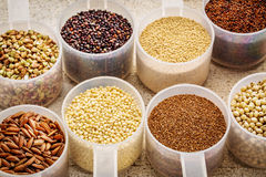 Gluten free grains in plastic scoops. Gluten free grains (quinoa, brown rice, kaniwa, amaranth, sorghum, millet, buckwheat, teff) - plastic measuring scoops on a Stock Image