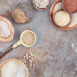 Gluten free grains, rice  and flours Royalty Free Stock Image