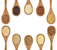 Gluten free grains and seeds. A variety of gluten free grains and seeds (buckwheat, amaranth, brown rice, millet, sorghum, teff, black, red and white quinoa Royalty Free Stock Images