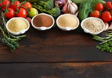Gluten free grains and vegetables. Amaranth,  sorghum grain, teff and millet Stock Images
