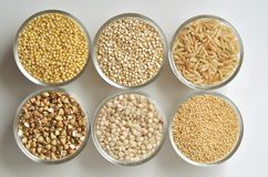 Gluten-free grains on white background. Top view, close-up Royalty Free Stock Photos