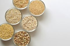 Gluten-free grains on white background. Top view, close-up Stock Photos