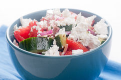 Gluten free greek salad, tomato and cucumber with feta Royalty Free Stock Photos