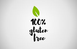 100% gluten free green leaf handwritten text white background Stock Photo