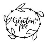Gluten free hand drawn logo, label with floral frame. Vector illustration eps 10 for food and drink, restaurants, menu Stock Photography