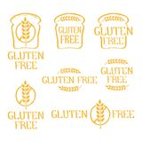 Gluten free- handdrawn isolated logo elements. Unique design for ads, signboards, packaging and identity and web sites. Logotypes created with rough effect Stock Photos