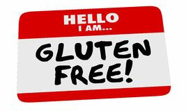 Gluten Free Hello Name Tag Sticker Special Dietary Needs 3d Illu. Stration.jpg Stock Images
