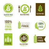 Gluten Free Icons - Badges. Gluten free icons - can illustrate any food and diet topics - allergies, natural, healthy lifestyle Stock Images