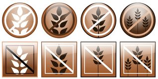 Gluten free icons isolated. Set of icons representing che concept of gluten free. An idea for logos or icons Royalty Free Stock Photos