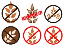 Gluten free icons. Set of icons representing che concept of gluten free Stock Photography