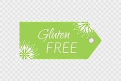 Gluten free label. Food logo icon. Shopping tag sign isolated. Gluten free label. Food logo icon. Vector green white shopping tag sign isolated on transparent Stock Images
