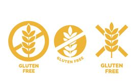 Gluten free label vector wheat cereal icons. Gluten free label or no wheat vector icon template for gluten free food package or dietetic product yellow signs set Vector Illustration