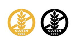Free Gluten Free Label Vector Wheat Cereal Icons Stock Images - 115008314