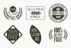 Gluten free labels. Vector collection of six gluten free symbols, badges and labels in modern style Royalty Free Stock Image
