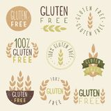 Gluten free labels. Vector EPS 10 hand drawn signs royalty free illustration