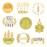 Gluten free labels. Vector EPS 10 hand drawn signs stock illustration