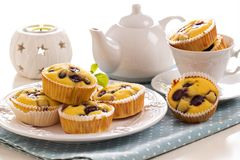 Gluten free muffins with grapes Stock Photography
