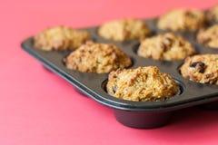 Gluten free muffins on roasting pan Stock Image