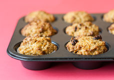 Gluten free muffins on roasting pan Royalty Free Stock Image